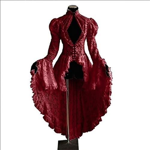 Vestido De Falda De Longitud De Halloween para Mujer Cuello Cuadrado con Volantes En Cascada Retro Falda Diaria Informal hasta El Tobillo,Red-S
