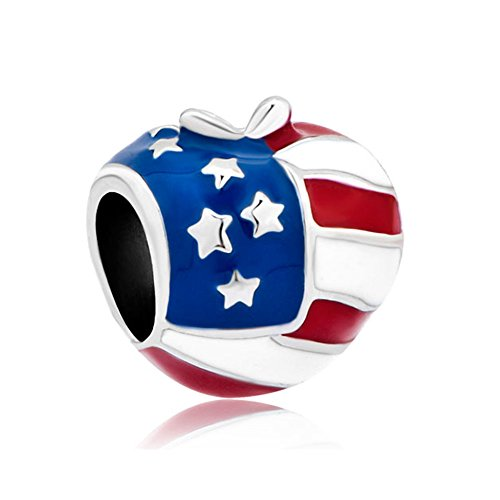 Eisen-YD-Schmuck USA American Country Flagge Herz Love European Charms Spacer Bead Abstandhalter Frau Armband