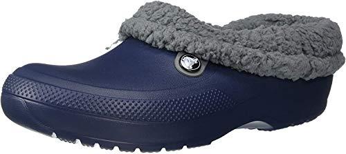 Crocs Unisex Men's and Women's Blitzen III Clog | Fuzzy Slippers, Navy/Slate Grey, 5 US