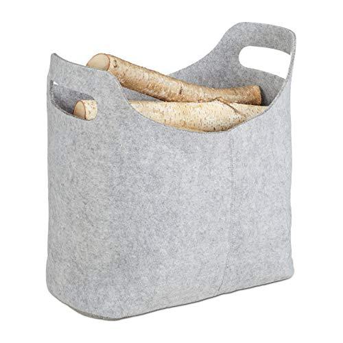 Relaxdays 10021972 Panier à bûches de bois en feutre, HxlxP: 39,5 x 40 x 23 cm, 2 poignées, pliable, porte-revues, gris