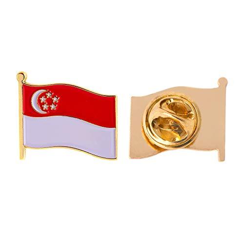 Singapur Land Flagge Anstecknadel Emaille aus Metall Souvenir Hat Herren Frauen Patriotische Singapur Saul (Waving Flag Revers PIN)