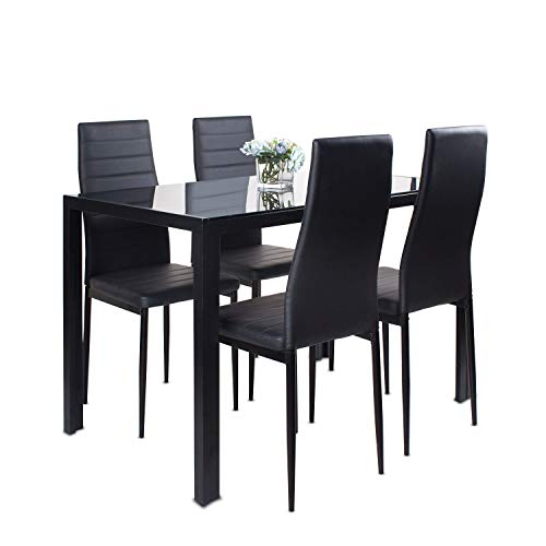 Dining Table and Chairs Set 4, Glass Kitchen Table and 4 Black Faux Leather Foam Ribbed High Back Padded Chairs Modern Rectangle Dining Room Furniture