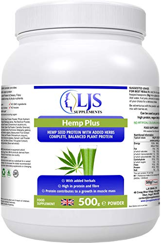 LJS Supplements Hemp Plus - Protein & Nutrient Intake - for Vegetarians & Vegans - Muscle Recovery - Growth & Cell Repair - Cleansing & Elimination - for A Healthy Immune System - Made in UK.