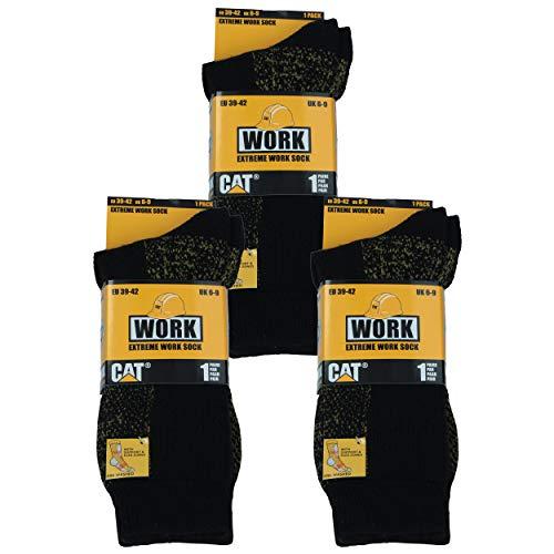 Caterpillar 3 pares de calcetines de trabajo para hombre Cat lana de alta calidad, material prelavado muy suave