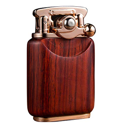 Encendedor de gas, encendedor de chorro, retro, de madera, con cuentas de pedernal, queroseno, gasolina, palo de rosa, colección de mecheros sólidos Gadget para hombre ArmyGreen