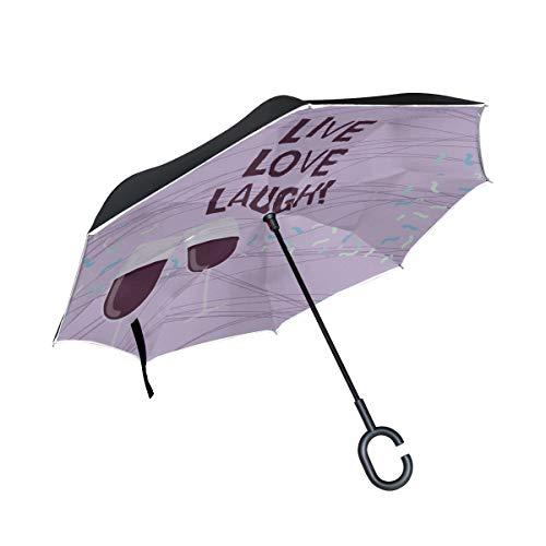 Live Lachen Und Liebe Wort Doppelschicht Falten Anti Uv Schutz Winddicht Regen Gerade Autos Golf Reverse Inverted Umbrella Stand Mit C förmigen Griff