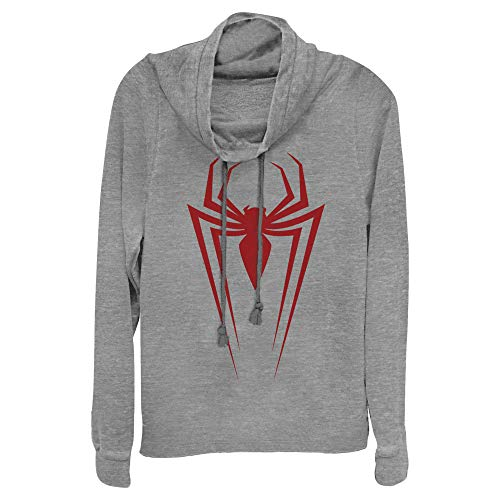 Junior's Marvel Spider-Man Icon Badge Cowl Neck Sweatshirt - Gray Heather - X Large