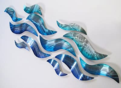 Rip Tide Modern Abstract Large Metal Wall Art Sculpture Metal Panels Blue Silver Painting Decor by DV8 Studio