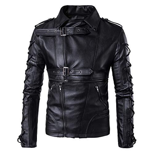 TFGY Basic Motorradjacke für Herren mit Taschen,Black,XL