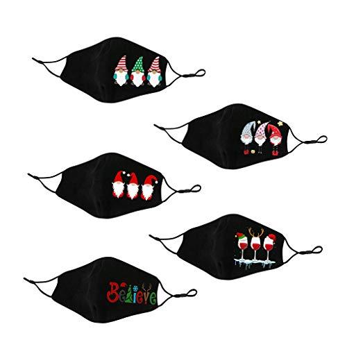 TianWlio 1/10 Stück Weihnachten Mund Schutz mit Motiv Mundbedeckung Waschbar Erwachsene Weihnachten Kostüm Zubehör