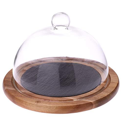 LAGUIOLE - Cloche à fromages plateau bois et ardoise - verre, bois d'acacia - Transparent