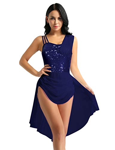 YOOJIA Vestido de Danza Lírica Latín Señoras Top Brillante Falda Asimétrica Traje Bailarina Chicas Actuación Baile Latino Patinaje Azul M