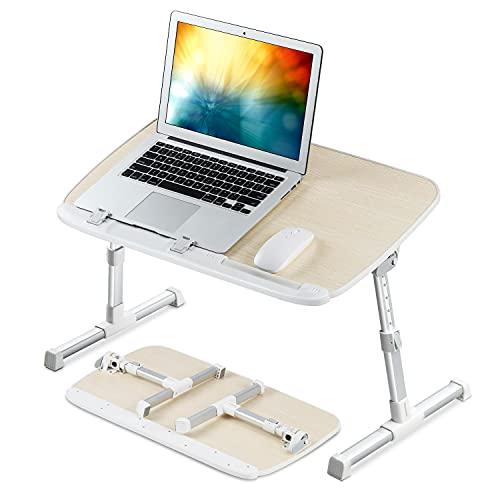 NEARPOW Laptoptisch Laptop Schreibtisch fürs Bett, Verstellbare Höhe, Neigungswinkel, Klappbare Beine, Tischplatte passt für Laptops bis zu 17 Zoll (Beige)