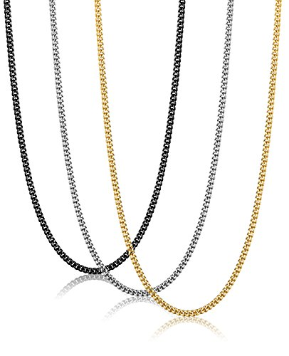 FIBO STEEL 3Pcs 2MM Stainless Steel Curb Link Chain for Men Women Necklace Chain,24 Inches