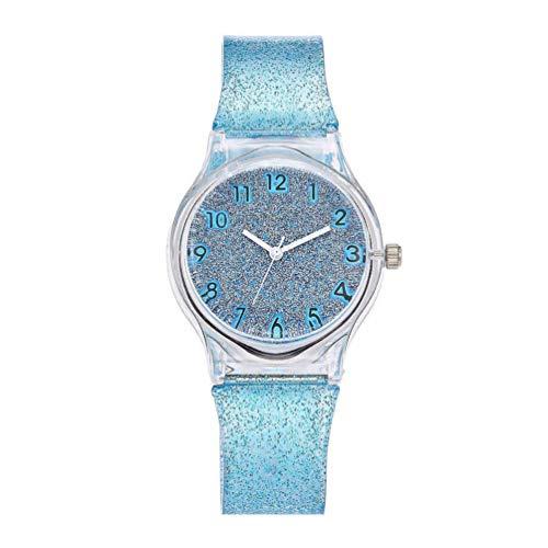 Hemobllo Armbanduhr Bunt Glänzende Glitzer Mädchen Uhr Kreative Uhr mit Silikonstreifen Quarzuhr Zeitmaschine Handgelenk Dekoration für Kinder Kinder Mädchen Damen (Blau)