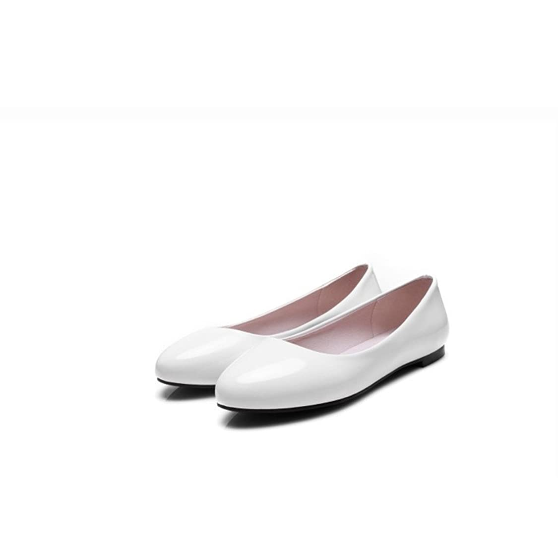 テンション盆スローCVICVJAPAN シンプルフラットパンプス大きなサイズ浅口ラウンド靴 (28, ホワイト)