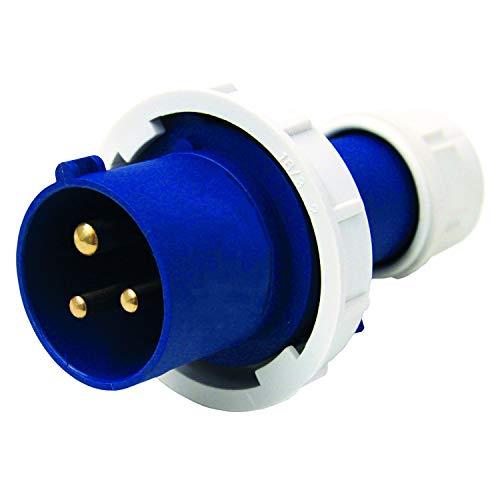 Electraline 80849 Spina Elettrica Industriale, IEC, 16A, 2P+T, 220V, IP67, Blu