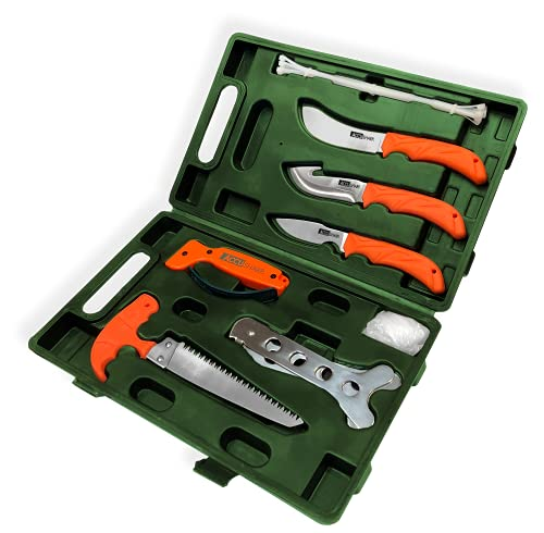 AccuSharp 9-Piece Hunting Knife Set w/ Case - Includes Butcher knife, Caper knife, Gut-Hook Knives, Bone Saw, Ribcage Spreader, Zip Ties, Gloves & Knife Sharpener - For Fishing, Hiking, & Camping