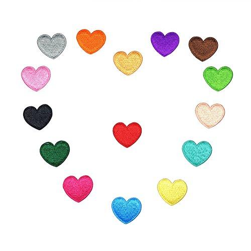 XUNHUI Bunt Herz Eisen auf Patch Nähen auf bestickte Applikation Flicken Kleidung Aufkleber DIY Bekleidung Zubehör 15 Stück