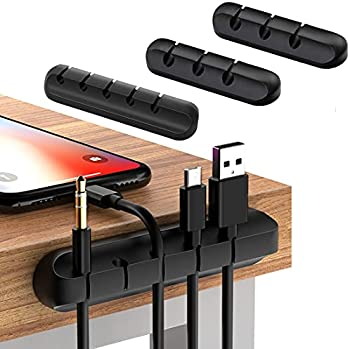 4-Pack Cable Organizer Cord Management Holder (Black)
