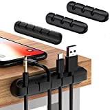 Cable Clips, 4 Pack Cable Organizer Cord Management Wire Cord Holder Used to Organize Chargers Cables, Office Desk, Bedside Tables, Car Cable Wire, Say Goodbye to Messy (Black)
