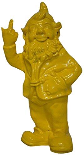 Stone-Lite - Statuette de Nain de Jardin Faisant Un Doigt d'honneur - Cadeau Amusant - Jaune - 30 cm