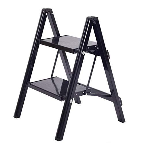 LRZLZY 2-Step / 3-Stufen-Leiter aus Aluminium, tragbare Falten Stehleitern, Leichte Küche Schritt Hocker mit rutschfesten Trittstufen, 330lbs Kapazität (Color : Schwarz, Size : 2-Step)
