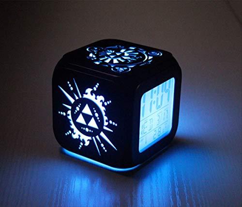 HHIAK666 Zelda 3D Dreidimensionaler Kleiner Wecker, Elektronische Led-studentenuhr, 7-Farben-nachtlicht-nachttischuhr 8.8cm Schwarze Muschel B.