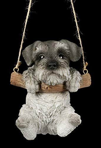 Perros Figura Schnauzer Cachorro Hängt Schaukelnd en una Columpio Carácter Animal, Pintado a Mano, para Colgar
