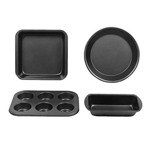 JVSISM Antihaft Back Geschirr Set, 4 Teiliges Back Geschirr, Einschlie?Lich Toast Pfanne, Quadratische Kuchen Form, 8 Zoll Runde Pizza Form, 6 Tassen Muffin Form
