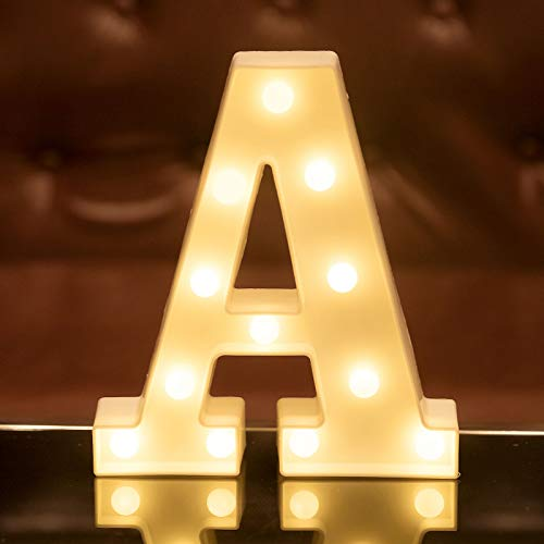 Focux LED Letter Lights Alphabet Light Up Sign for Night Light Home Party Birthday Wedding Bar Decoration LED Letter Battery Powered Christmas Night Light Lamp Home Bar Decoration (A)