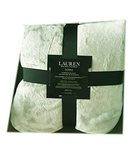 Ralph Lauren Luxury Micro Plush Fleece Bed Blanket - Soft, Warm and Cozy, Lightweight, Breathable, Bedspread, Coverlet, Bed Cover, Perfect Throw for Couch, Sofa – Queen Size - Sage Green