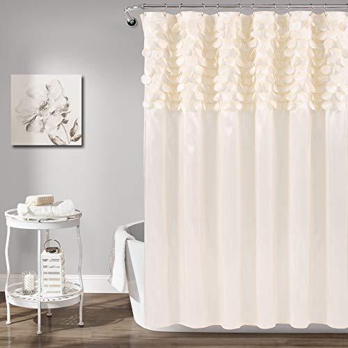 "Lush Decor Lillian Shower Curtain   Textured Shimmer Circle Design Bathroom, 72"" x 72"", Beige"