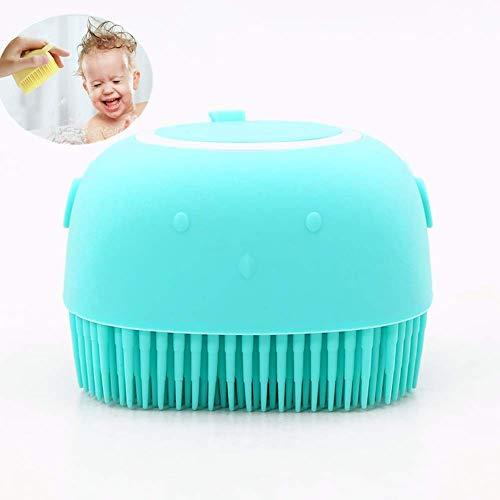 Siliconen Bad Body Brush,2 in 1 Siliconen Badborstel met Massage en Shampoo Dispenser Zachte Douche Borstel Draagbare Massage Borstel Baby Shampoo Borstel Foam Rub, voor Baby, Mannen, Vrouwen (Groen)