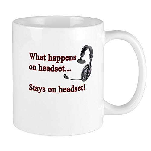 CafePress Einzigartige Tasse Was auf Headset... Tasse–S Weiß, keramik, Weiß, Größe S