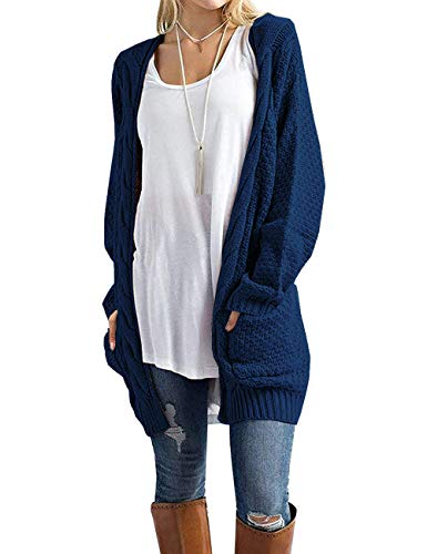 GRECERELLE Women's Loose Open Front Long Sleeve Solid Color Knit Cardigans Sweater Blouses with Packets Navy Blue-Medium