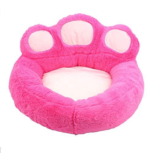 Camas para Perros y Gatos,Colchón de Espuma Viscoelástica Sofá para Mascotas con Forma de Pata de Oso de Felpa,LavableCamas Cálidas para Invierno Cesta para Perros Cojín (Color:Rosado,Size:S)