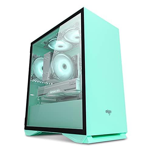Caja Pc Gamer Caja Para Juegos ATX Mid-Tower Para PC Verde, Caja Abierta En Torre Para Computadora Con 1 X Panel De Vidrio Templado, Listo Para Refrigeración Por Agua, Puertos Superiores USB3.0 / USB2