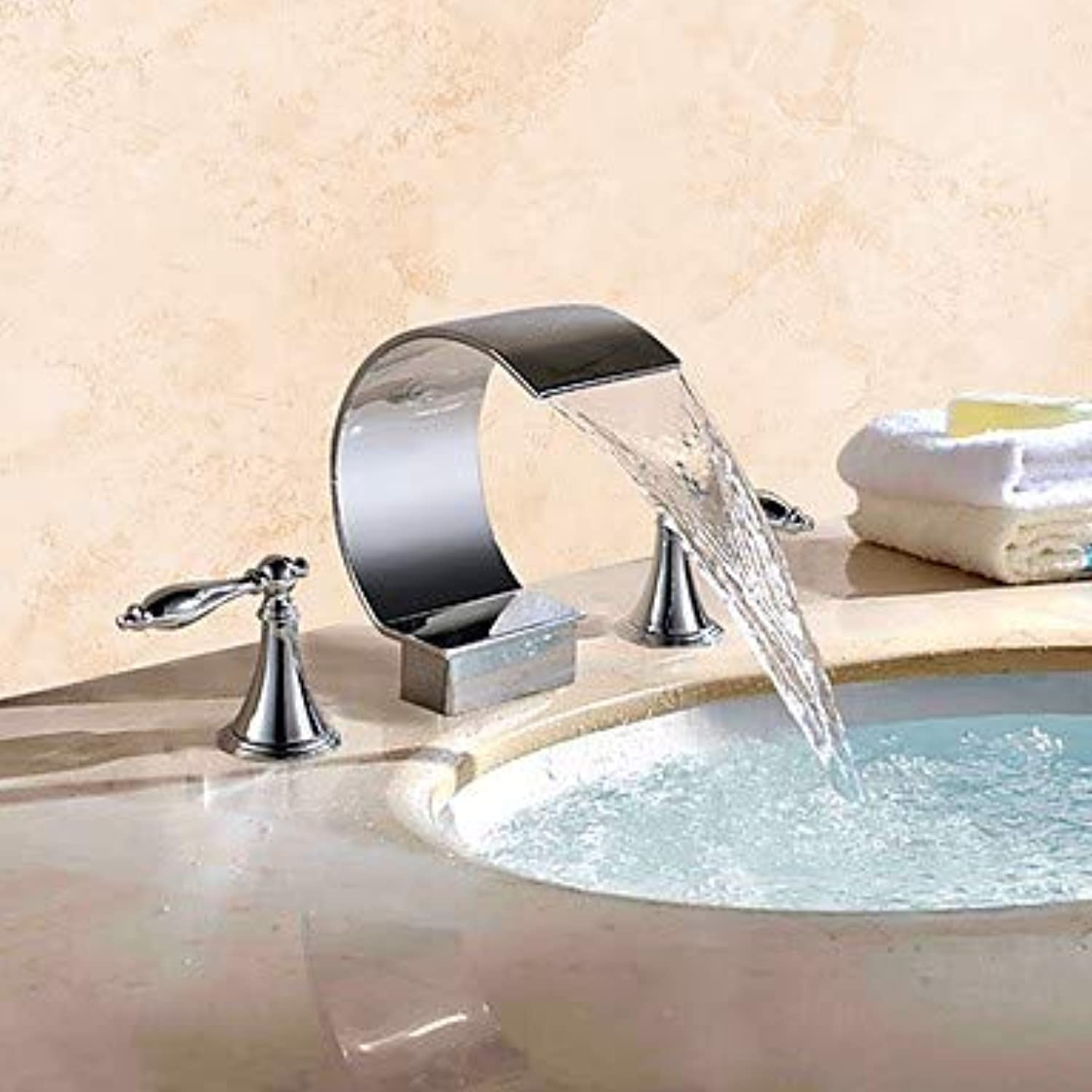 GFFXIXI Contemporary Widespread Waterfall Brass Valve Two Handles Three Holes Chrome, Bathroom Sink Faucet
