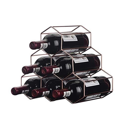 GAOTTINGSD Botellero Armarios para Vino Estante del Vino del Metal del Soporte de exhibición de Nido de Abeja Retro Sala de Estar Bar de vinos de Almacenamiento 6 Botellas Capacidad 18X18X26CM