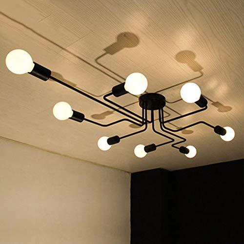 OYIPRO Moderno Candelabro Negro Lámpara de techo 8 E27 para sala de estar Dormitorio Cocina