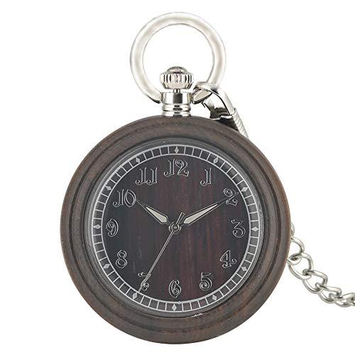 Grote wijzerplaat met Romeinse cijfers Hanger Horloge voor vrouw, Elegante Donker Bruin Ebony Pocket Horloge voor Mannen, Praktische Lichtgevende Pointers Quartz Pocket Horloges voor Man