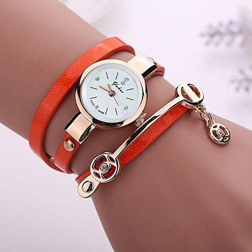 LBBL Correa Metal, Reloj Pulsera Reloj De Cuarzo Reloj de Mujer (Color: : Orange)