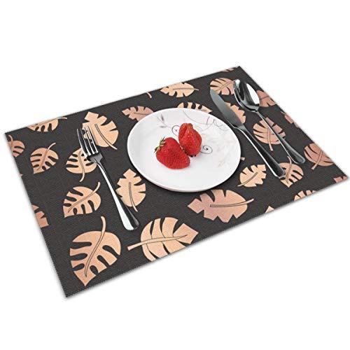 Rterss gouden folie laat naadloze achtergrond Vector afbeelding Placemats Stain Resistant Anti-Skid Placemat wasbare keuken tafel matten decoratie van 4 stuks op maat