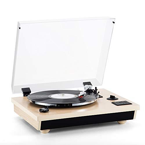 Plattenspieler-MC-262 SHUMAN, Dreistufiger Bluetooth-Plattenspieler, USB, MP3, Cinch, AUX IN 3,5-mm-Jack,Eingebaute Stereolautsprecher, Aufnahmefunktion (Oak)