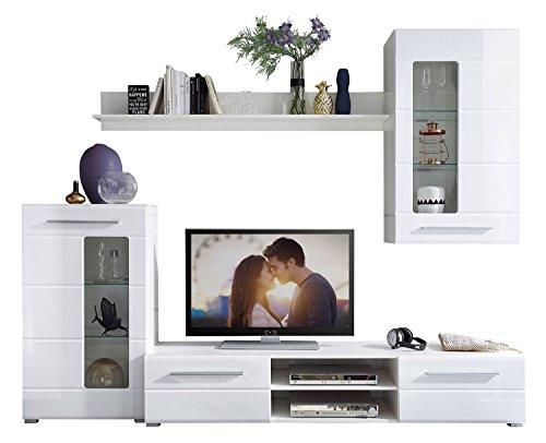 Wohnwand –  Weiße, moderne Wohnzimmer Anbauwand Bild 3*