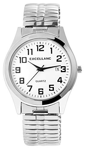 Excellanc Herrenuhr Weiß Analog Datum Metall Zugband Quarz Zugarmband Armbanduhr