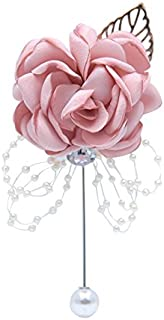 Abbie Home Classic Boutonnière for Prom Party Wedding Ball Event Blooming Rose Rhinestone Pearl Decent Brooch Pin for Suit Dress (Pink Blush)