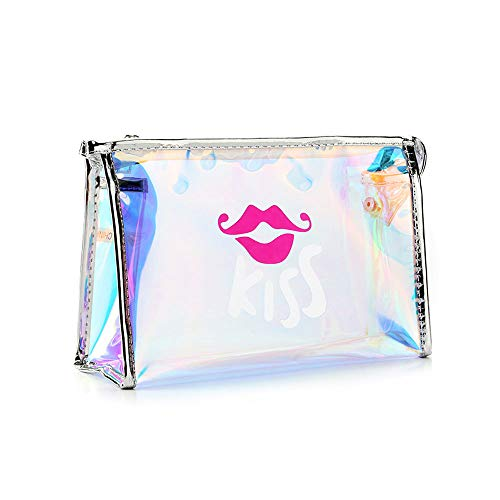 Greetuny Travel Storage Wash Bag Fashion Makeup Bag Transparent Waterproof Organizer Suitcase Travel Cosmetic Bag Portable Blue Kiss 23*7*15cm