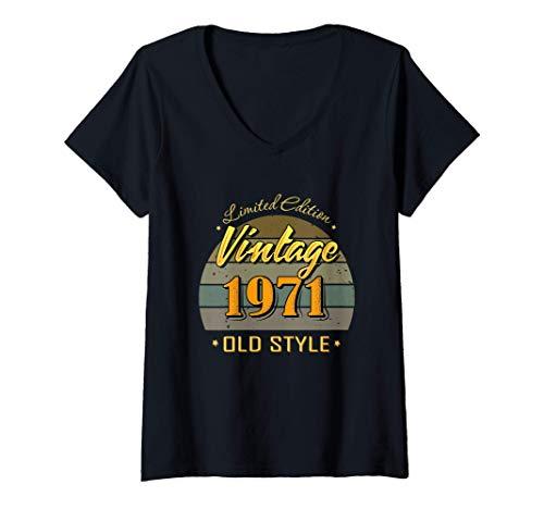 Mujer 50 años de edad 50 cumpleaños decoraciones 1971 vintage Camiseta Cuello V